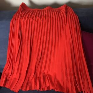 Hobbs London Red Pleaded Skirt